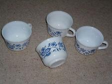 Tassen, Kaffeebecher, Kaffeetassen, Opalglas Tassen, Blau bedruckte Tassen
