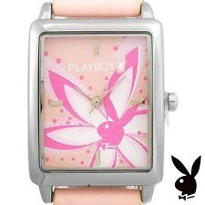 Playboy Watch Flower Bunny Logo Pink Band Stainless Steel Back Ladies RARE HTF