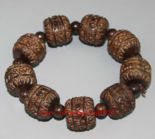 Ancient Chinese Sandalwood carved scalable wood bracelet 一生平安