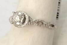 14k White Gold Round Halo Vintage Style Twist Bypass Engagement Bridal Ring Sale