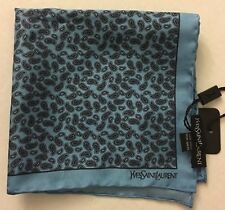 YSL Yves Saint Laurent Mens Blue Paisley Pocket Scarf 100% Silk Italy NWT