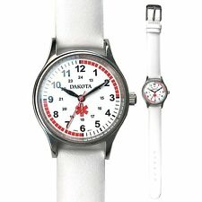 Dakota Nurse Medical White Leather Band Watch