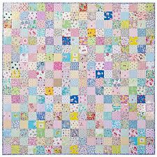 Dollhouse Miniature Computer Printed Fabric Quilt Top Patchwork Square Pink