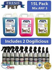 3 X 5L FRESH PET Kennel Disinfectant (Mix ANY 3) Includes 2 Dogilicious Perfume
