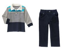 Gymboree Shields and Sails Rugby Shirt Top & Navy Corduroy Pants Set Boys 2T NWT