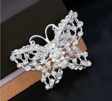 SILVER WHITE FILIGREE RHINESTONE DIAMANTE CRYSTAL BUTTERFLY BROOCH PIN WEDDING