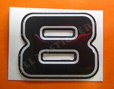 3D Stickers Resin Domed NUMBER 8 EIGHT - Color Black - 50 mm(2 inches) Adhesive