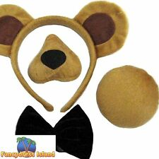 BEAR SET INC EARS NOSE TAIL & BOW TIE BOOK WEEK Girls Boys Childs Fancy Dress
