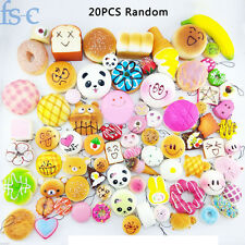 20pcs Jumbo Medium Mini Random Soft Squishy Cake/Panda/Bread/Buns Phone Straps