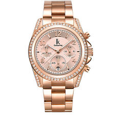 IK Colouring Women's Automatic Mechanical Steel Rhinestone Wristwatch Rose Gold