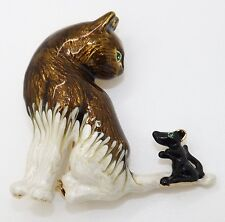 Vintage CORO Enamel Cat Mouse Green Eye Brooch Pin Book Piece
