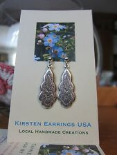Art Nouveau Long Elegant Pansy Kirsten EARRINGS USA Handmade Mom 925 Silver Hook