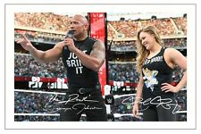 RONDA ROUSEY & THE ROCK WWE WRESTLING SIGNED PHOTO PRINT AUTOGRAPH WRESTLEMANIA