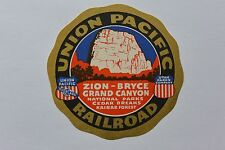 Union Pacific Railroad Luggage Sticker Decal Overland Rte UT State Park Co Zion