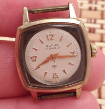 Vintage Soviet SLAVA watch, Gilt Unusual case, USSR / CCCP, Serviced, 1970s #300