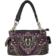PURPLE RHINESTONE STUDDED SKULL WINGS SHOULDER HANDBAG CONCEALED CARRY PURSE