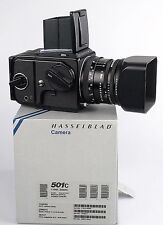 Hasselblad 501C set complete in makers box. camera, lens , shade and filmback.