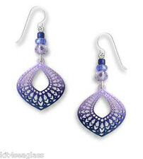 Adajio Periwinkle & Indigo Teardrop EARRINGS STERLING Silver Moorish Style Boxed