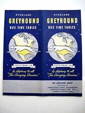 "Vintage 1948 ""Greyhound Bus Schedule"" w/ Great Cover Picture of Greyhound Dog  *"