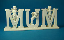 Freestanding Shelf Decoration Word / Letters MUM with Cupids, 20 cm wide