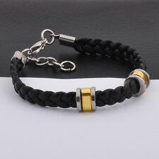 "Unisex Men Womens Stainless Steel Rubber Silicone Bracelet black 8"" G23"