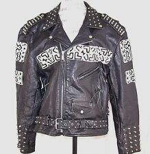 Leather Studded Rocker Motorcycle Biker Jacket NYC Costume Hand Made Punk Goth