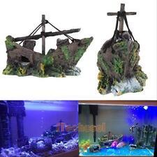 Aquarium Ornament Fish Tank Cave Decor Wreck Sailing Boat Sunk Ship Destroyer