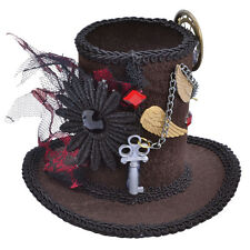 Brown Mini Steampunk Tall Top Hat On Clip Fancy Dress Costume Outfit Accessory