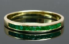 Natural Round Emerald Solid 18k Yellow Gold Wedding Anniversary Band Ring Size W