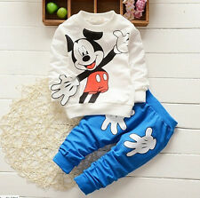 Baby Kids Mickey Mouse Coat+Pants Boys Girls Cotton Sets Clothes Outfits 2Pcs