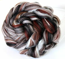 Merino Wool & Silk Blend Chocolate Truffle 100g Combed Top spinning or Felting