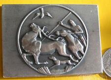 Hunting world Expo bronze plaque,with a deer hunter on front. Budapest 1971