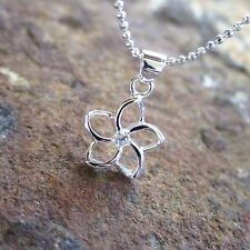 12MM Small Floating Plumeria Flower Hawaiian 925 Silver Pendant Necklace SP49001