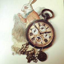White Rabbit im Late Pocket Watch with Charms Alice in Wonderland Brooch Unique
