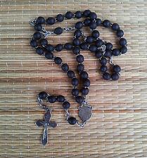 Ancien chapelet en perles noires, objet religieux, french antique religious