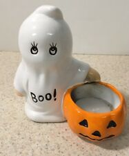 Ghost Pumpkin Ceramic Figurine Votive Tea Light Candle Holder Halloween 4 1/2""