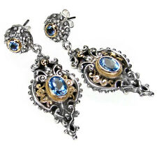 Gerochristo 1338~ Solid Gold, Silver & Blue Topaz ~ Medieval-Byzantine Earrings