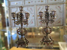 Dollhouse Miniatures ~ Ornate Pair of 5 Arm Candelabras Sterling Silver