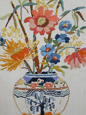 VTG Mid Century Framed Crewel Embroidery Japanese Vase Flowers Picture Large EC