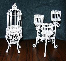 Vtge Dollhouse Miniature Victorian Wrought Iron 3-Tier Planter Stand & Bird Cage