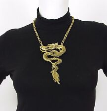 1970's Vintage Statement Large Gold Tone Dragon Pendant Costume Jewelry Necklace