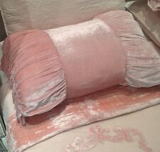 Shabby Chic Throw Cushion Pillow Cover Pink Velvet Bow Tie Shape 46x68cm