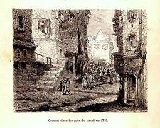 GRAVURE SUR BOIS 19ème  COMBAT DANS LES RUES DE LAVAL EN 1793