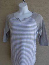 NEW Just  My Size 2X 3/4 Raglan Sleeve Notch Neck Striped Tee Top Gray & White
