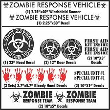 Zombie Outbreak Response Team 17 Piece Black Vehicle Decal Set Kit Car Truck New