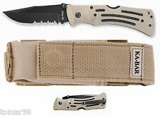 KA-BAR #3053 DESERT TAN TACTICAL HEAVY-DUTY MULE COMBO EDGE FOLDING POCKET KNIFE