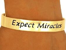 """Cuff Bracelet Gold Plated Expect Miracles Cancer Awareness Hope Bangle 7"""" New"""