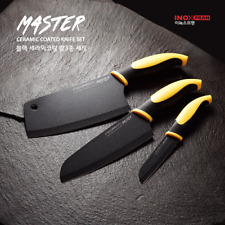 BIGSALE 3Pcs SET Sharp Black Ceramic Coated Stainless Steel Chef Kitchen Knife