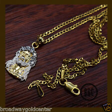 Face of Jesus Christ Pendant & Cuban Link Chain Solid 14k Yellow Gold 22 Inches