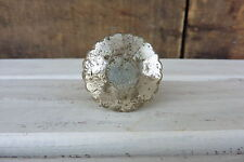 SILVER MERCURY Vintage = FLARE CUT = Distressed GLASS = Cabinet Drawer Pull KNOB